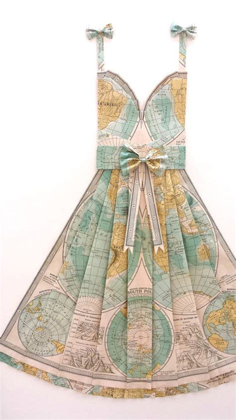 large map   world hand folded map dress teal