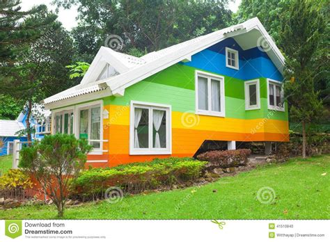 colorful houses painting colorful house in forest stock photo image of cottage