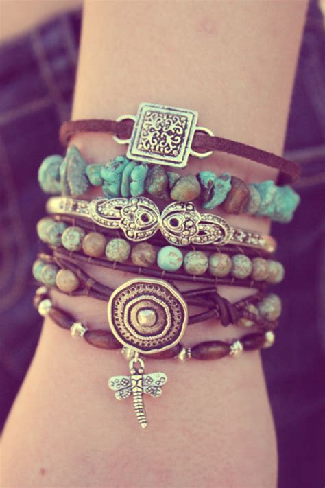 turquoise boho leather bracelet stack featured in vogue