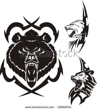 tribal polar bear tattoo pin wolf paw on