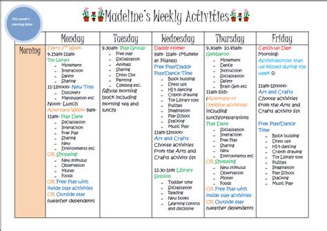 daily activity schedule template weekly activity planner template
