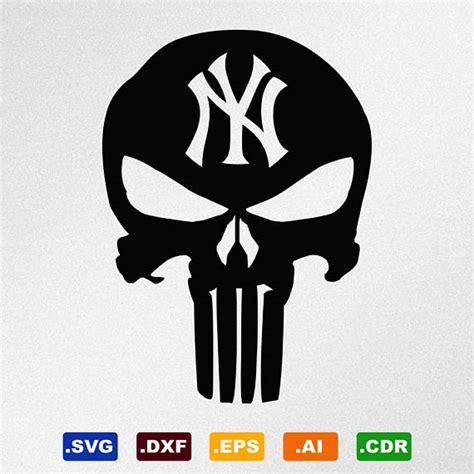 punisher skull  york yankees svg dxf eps ai cdr vector