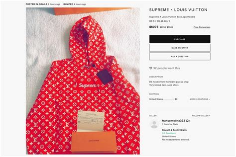 Louis Vuttion X Supreme Bogo Hoodie supreme x louis vuitton absurd resell prices hypebeast