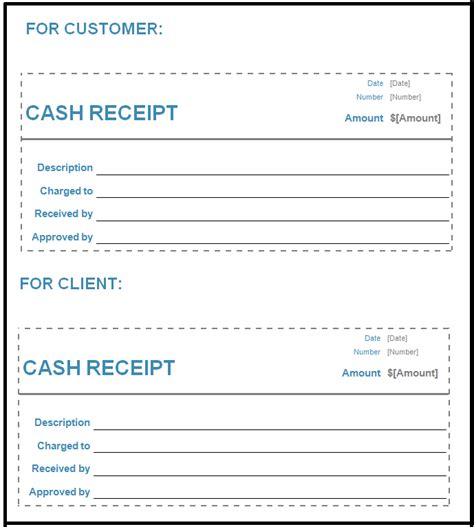 free cash receipt template in word excel pdf format