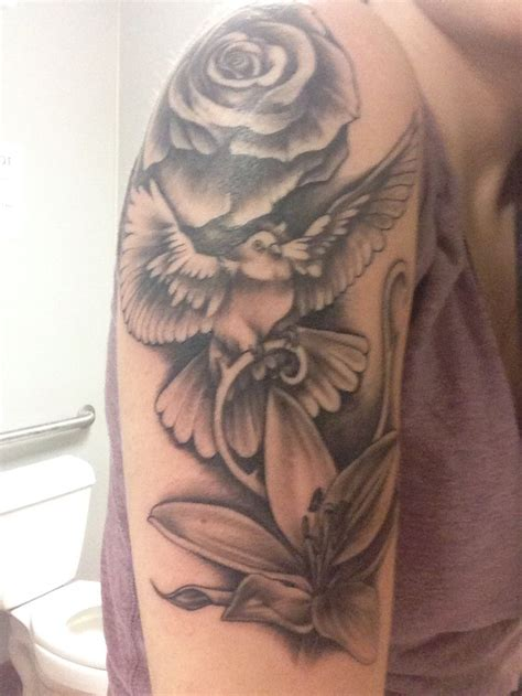 rose dove tattoo beautiful realistic dove water lilies and roses