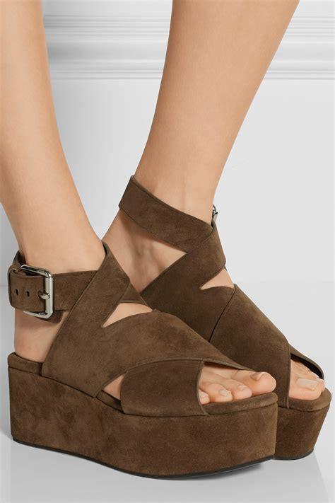 Athira Suede Platform Sandal wang rudy suede platform sandals in brown lyst