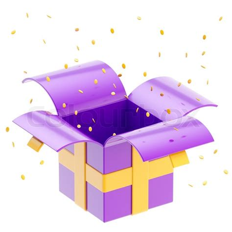 Home Decoration Shopping by Gift Box With Ribbon Confetti Isolated Stock Photo