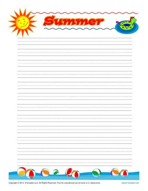 Summer Writing Paper Template summer printable lined writing paper