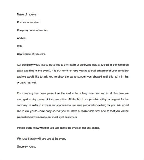 business invitation letter templates  word sample templates
