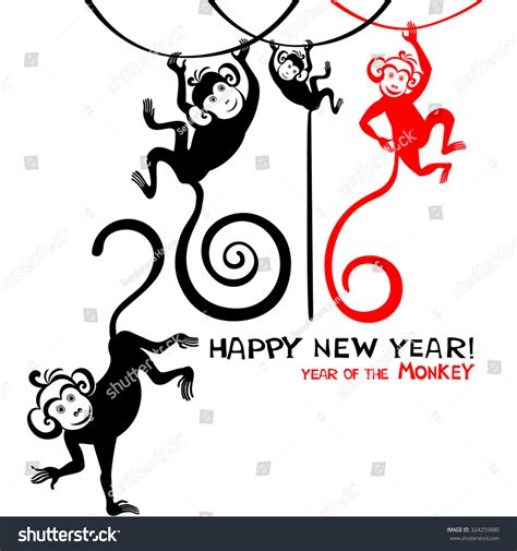 new year 2016 monkey message happy new year 2016 year of the monkey vector