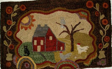 Saltbox Rug Hooking by Details About Hooked Rug Early Style Primitive