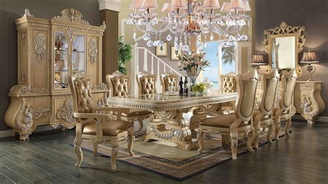 Leather Dining Room Chair by 11 Piece Homey Design Victorian Palace Hd 7266 Dining Set
