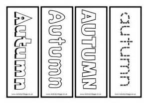 autumn colouring bookmarks
