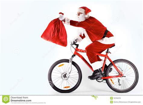 santa with sack stock photo image of bicycle christmas