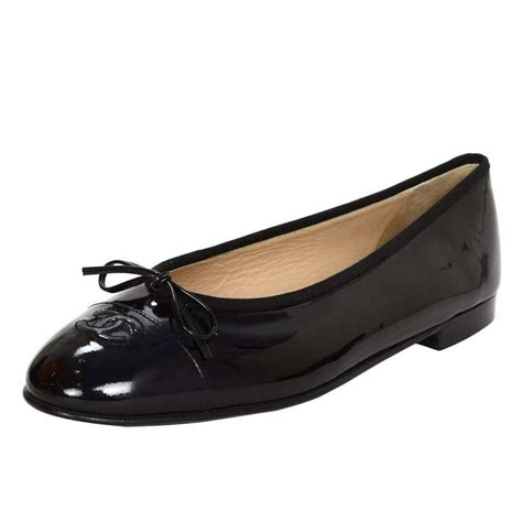 New Chanel Balerina Flat Patent Leather Black chanel new black patent ballet flats sz 42 for sale at 1stdibs