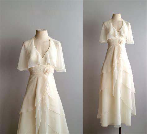 Sheer Drape 70s Wedding Dress 1970s Chiffon Bridal Gown She S The