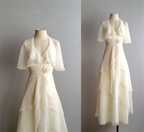 70s wedding dress / 1970s chiffon bridal gown / by