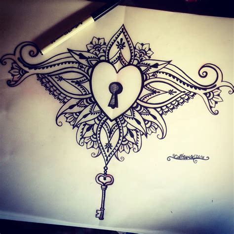 locked heart tattoo designs locked sternum design tats i want maybe