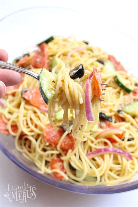 pasta salad with spaghetti noodles italian spaghetti pasta salad family fresh meals