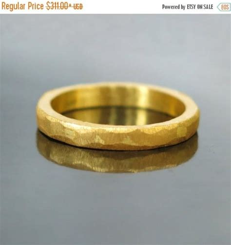 sale hammered gold wedding band modern gold ring