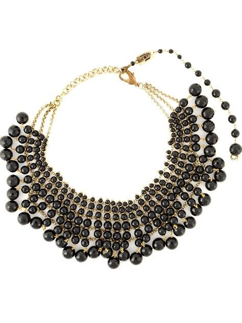 beaded collar rosantica beaded collar necklace in black lyst