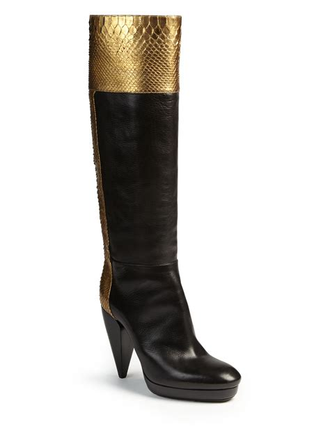 metallic boots lanvin metallic python leather knee high boots in