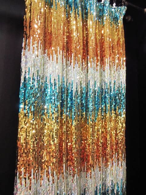 orange and silver curtains cgs705 1 panel teal gold orange silver sequin fabric
