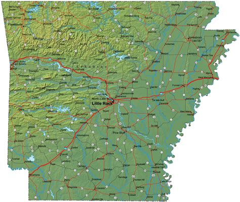 map arkansas detailed arkansas map ar terrain map