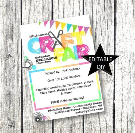 Craft Fair Flyer Invitation Diy Editable Customizable And Craft Fair Poster Template Free