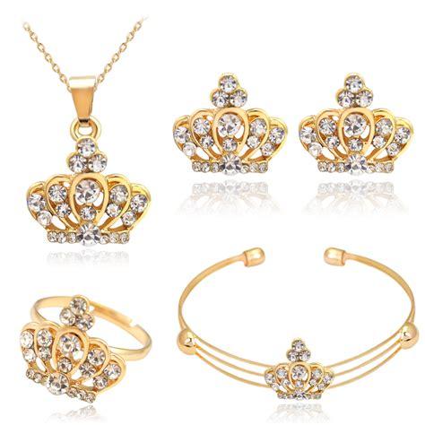 Rhinestone Ring Gold attractive rhinestone gold jewelry set necklace