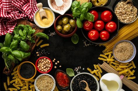 ingredient cuisine food background food concept with various tasty fresh