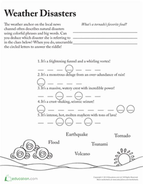 Tsunami Worksheets For Middle School by Master Of Disaster Vocabulary Worksheet Education