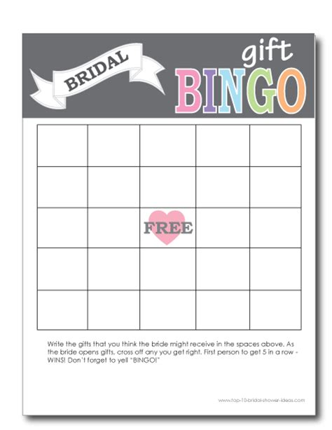 Free Printable Bridal Shower Gift Bingo Cards - printable bridal shower bingo cards print from home
