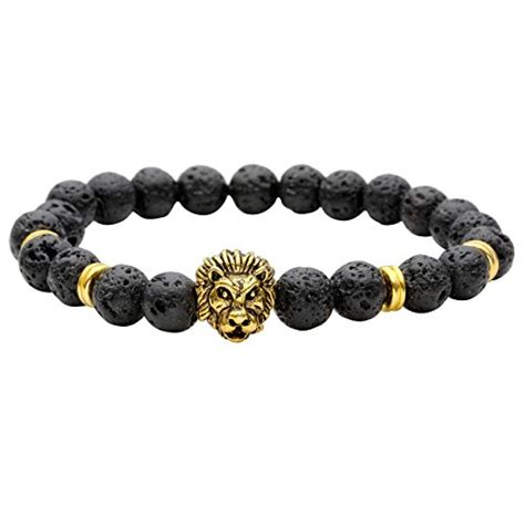 Sale Gelang Lava Unisex 8mm top plaza healing power lava rock bead elastic beaded bracelet unisex 8mm gold