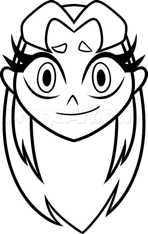 Easy Drawings To Draw Teen Titans Starfire Sketch Coloring Page sketch template