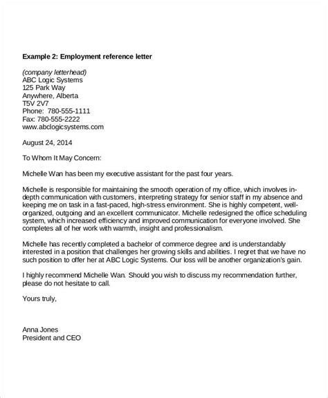 Sle Recommendation Letter From An Employer sle of reference letter from previous employer 28 images