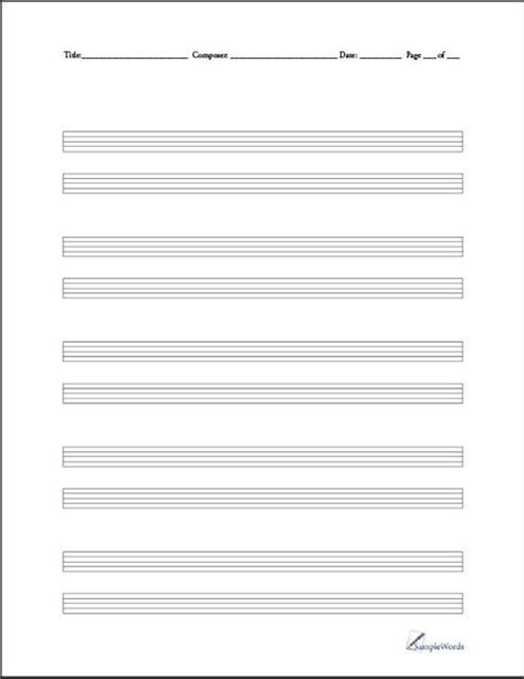 printable staff paper for drums blank sheet music paper to print free blank music sheets
