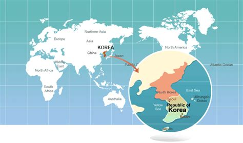 World Map Korea by Learn Korean Languages