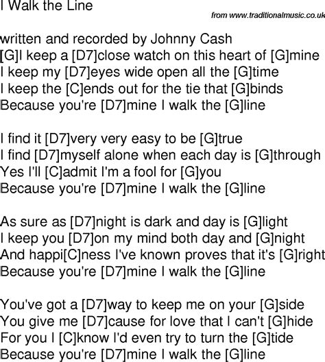 time song lyrics with guitar chords for i walk the line g