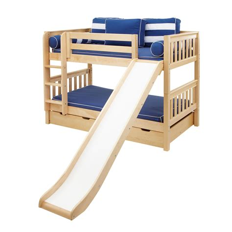 bunk bed slats maxtrix kids smile s low slat bunk bed with ladder slide