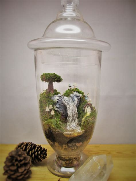 Handmade Terrariums - amazing large waterfall terrarium with raku fired miniature