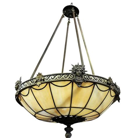 Stained Glass Chandeliers Deco Inspired Bronze Quot Liberty Quot Stained Glass Chandelier For Sale At 1stdibs