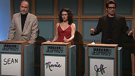 snl celebrity jeopardy below me watch celebrity jeopardy sean connery minnie driver