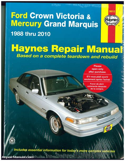car maintenance manuals 2000 ford crown victoria engine control haynes ford crown victoria mercury grand marquis 1988 2010 auto repair manual