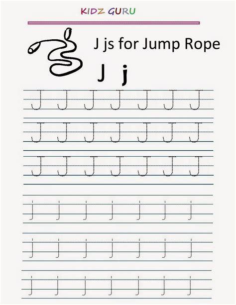 alphabet worksheet j kindergarten worksheets printable tracing worksheet