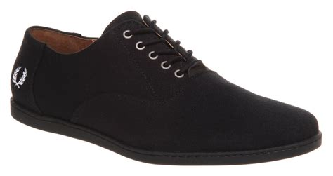 mens fred perry carey canvas black canvas trainers shoes