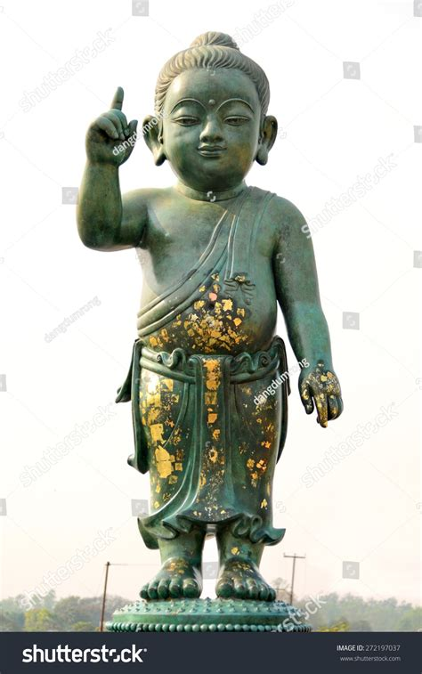 the important buddha baby statue at lumbini park