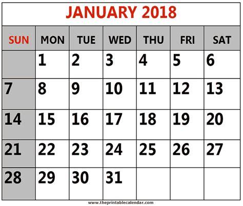 printable 2018 calendar template january 2018 to december 2018