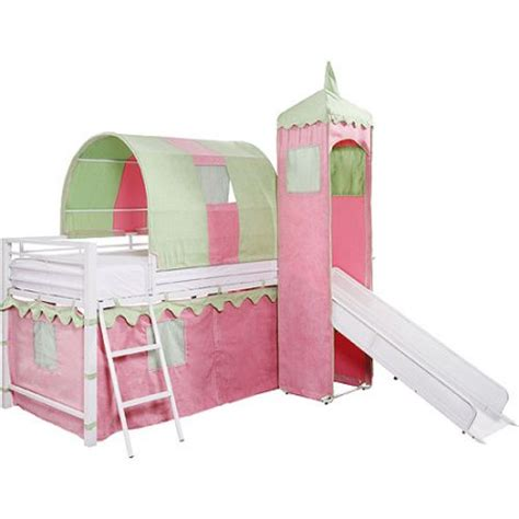 girl twin loft bed with slide girl s castle tent twin metal loft bed with slide under