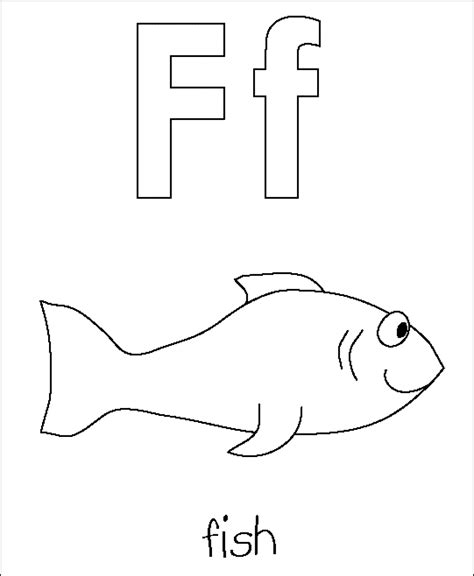 F Fish Coloring Page by Be Creative With Abc Coloring Pages